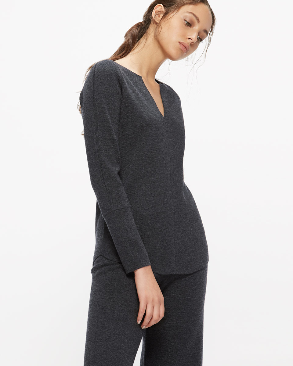 Merino Slit Neck Jumper - neckline: v-neck; pattern: plain; style: standard; predominant colour: black; occasions: casual; length: standard; fibres: wool - 100%; fit: standard fit; sleeve length: long sleeve; sleeve style: standard; texture group: cotton feel fabrics; pattern type: fabric; season: a/w 2016; wardrobe: highlight