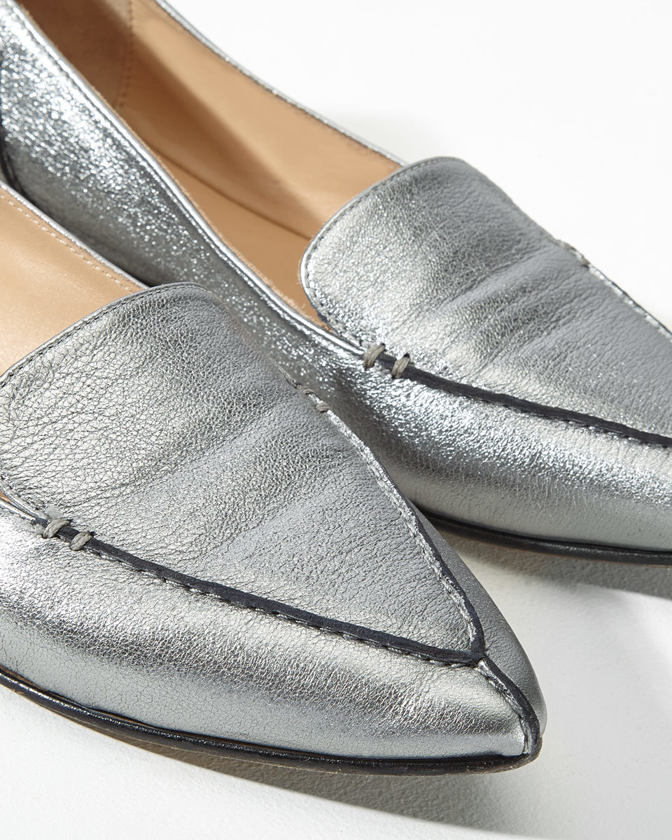 Celeste Stitch Pointed Flat - predominant colour: silver; occasions: casual; material: leather; heel height: flat; toe: pointed toe; style: loafers; finish: metallic; pattern: plain; wardrobe: basic; season: a/w 2016