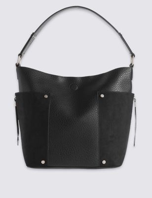 Faux Leather Side Pocket Hobo Bag - predominant colour: black; occasions: casual, creative work; type of pattern: standard; style: shoulder; length: shoulder (tucks under arm); size: standard; material: faux leather; pattern: plain; finish: plain; wardrobe: investment; season: a/w 2016