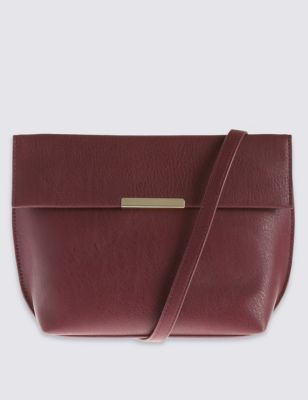 Faux Leather Across Body Bag - predominant colour: burgundy; occasions: casual, creative work; type of pattern: standard; style: messenger; length: across body/long; size: small; material: faux leather; pattern: plain; finish: plain; season: a/w 2016; wardrobe: highlight