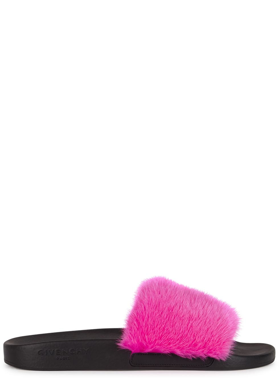 Pink Fur Sliders - predominant colour: hot pink; occasions: casual; material: fabric; heel height: flat; heel: standard; toe: open toe/peeptoe; style: slides; finish: plain; pattern: colourblock; season: a/w 2016; wardrobe: highlight