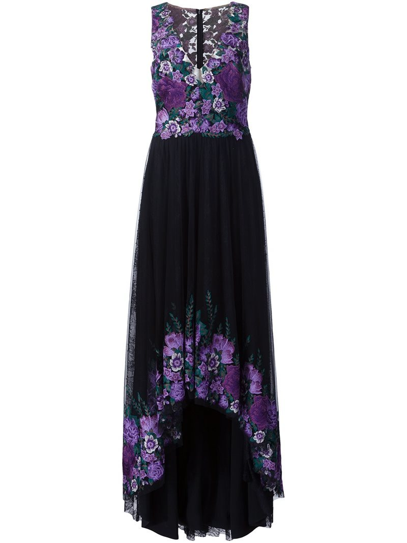 Embroidered Flower Gown, Women's, Black - length: calf length; neckline: v-neck; sleeve style: sleeveless; secondary colour: lilac; predominant colour: black; occasions: evening; fit: body skimming; style: asymmetric (hem); fibres: nylon - 100%; sleeve length: sleeveless; pattern type: fabric; pattern: patterned/print; texture group: jersey - stretchy/drapey; embellishment: embroidered; multicoloured: multicoloured; season: a/w 2016; wardrobe: event