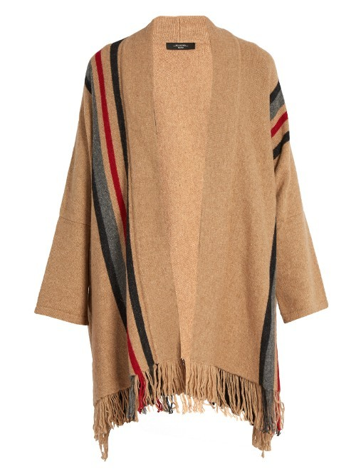 Acume Poncho - pattern: striped; length: below the bottom; neckline: collarless open; style: open front; predominant colour: camel; secondary colour: black; occasions: casual; fibres: wool - mix; fit: loose; sleeve length: 3/4 length; sleeve style: standard; pattern type: knitted - fine stitch; texture group: woven bulky/heavy; embellishment: fringing; multicoloured: multicoloured; season: a/w 2016; wardrobe: highlight