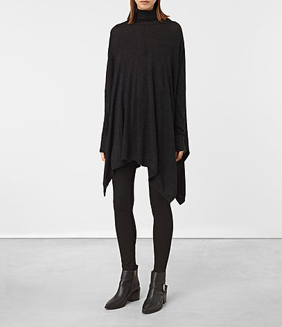 Benton Cape Jumper - pattern: plain; length: below the bottom; neckline: roll neck; style: cape; predominant colour: black; occasions: casual; fibres: wool - 100%; fit: loose; sleeve length: long sleeve; sleeve style: standard; texture group: knits/crochet; pattern type: fabric; season: a/w 2016; wardrobe: highlight