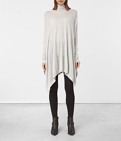Benton Cape Jumper - pattern: plain; neckline: roll neck; style: cape; predominant colour: light grey; occasions: casual; fibres: wool - 100%; fit: loose; length: mid thigh; sleeve length: long sleeve; sleeve style: standard; texture group: knits/crochet; pattern type: fabric; season: a/w 2016; wardrobe: highlight