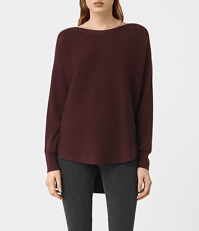 Esia Merino Jumper - pattern: plain; length: below the bottom; style: standard; predominant colour: burgundy; occasions: casual; fibres: wool - 100%; fit: standard fit; neckline: crew; sleeve length: long sleeve; sleeve style: standard; texture group: knits/crochet; pattern type: knitted - fine stitch; season: a/w 2016; wardrobe: highlight