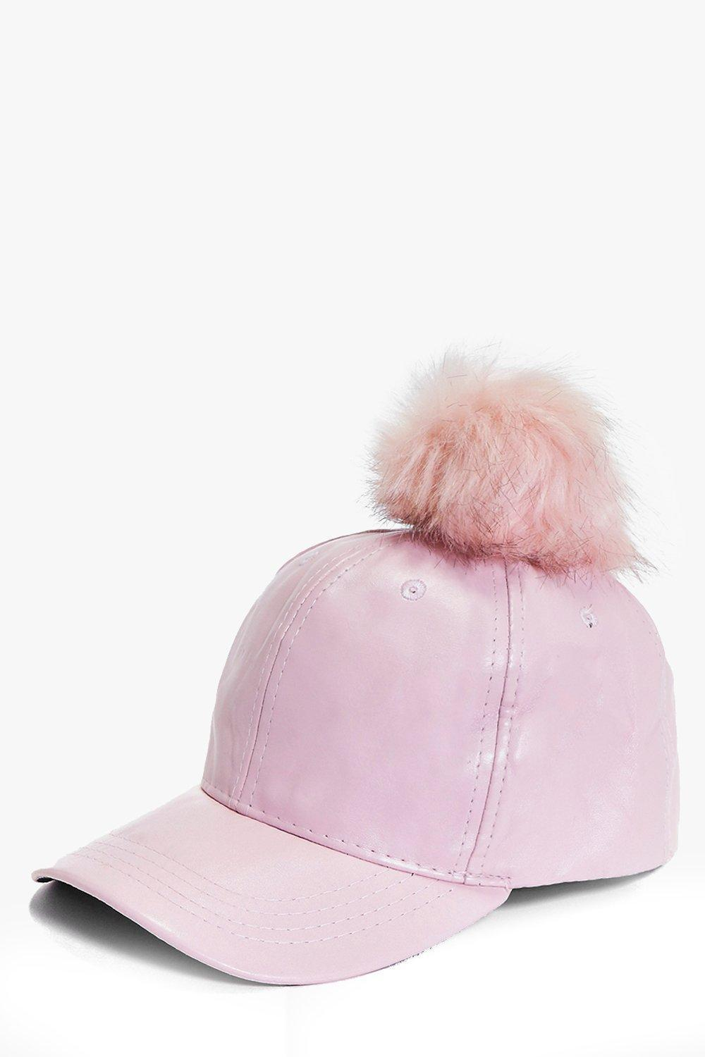 Pu And Faux Fur Pom Baseball Cap Pink - predominant colour: blush; occasions: casual; type of pattern: standard; style: cap; size: standard; material: fabric; pattern: plain; embellishment: pompom; wardrobe: basic; season: a/w 2016