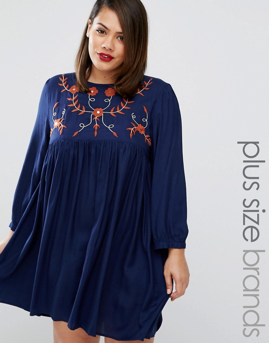 Folk Embroidered Skater Dress Navy - style: smock; fit: loose; secondary colour: true red; predominant colour: navy; occasions: casual; length: just above the knee; fibres: polyester/polyamide - 100%; neckline: crew; sleeve length: long sleeve; sleeve style: standard; pattern type: fabric; pattern: florals; texture group: jersey - stretchy/drapey; embellishment: embroidered; multicoloured: multicoloured; season: a/w 2016; wardrobe: highlight; embellishment location: bust