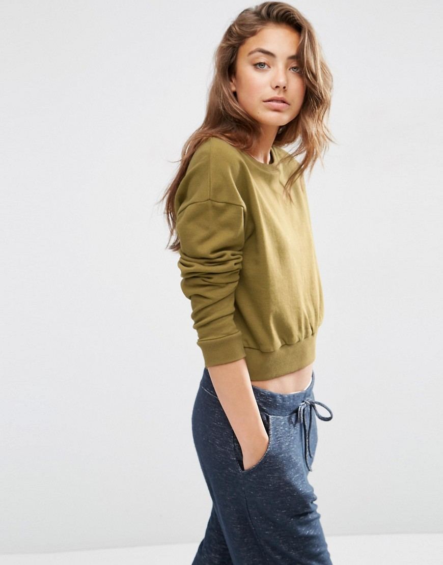Oversized Cropped Sweatshirt Olive - pattern: plain; length: cropped; style: sweat top; predominant colour: khaki; occasions: casual; fibres: cotton - 100%; fit: body skimming; neckline: crew; sleeve length: long sleeve; sleeve style: standard; pattern type: fabric; texture group: jersey - stretchy/drapey; wardrobe: basic; season: a/w 2016