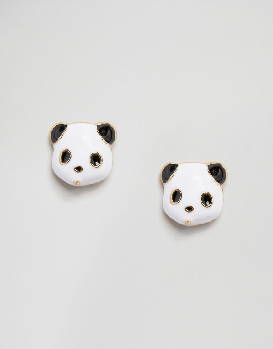 Panda Stud Earrings Multi - predominant colour: white; secondary colour: black; occasions: casual; style: stud; length: short; size: small/fine; material: chain/metal; fastening: pierced; finish: plain; multicoloured: multicoloured; season: a/w 2016; wardrobe: highlight