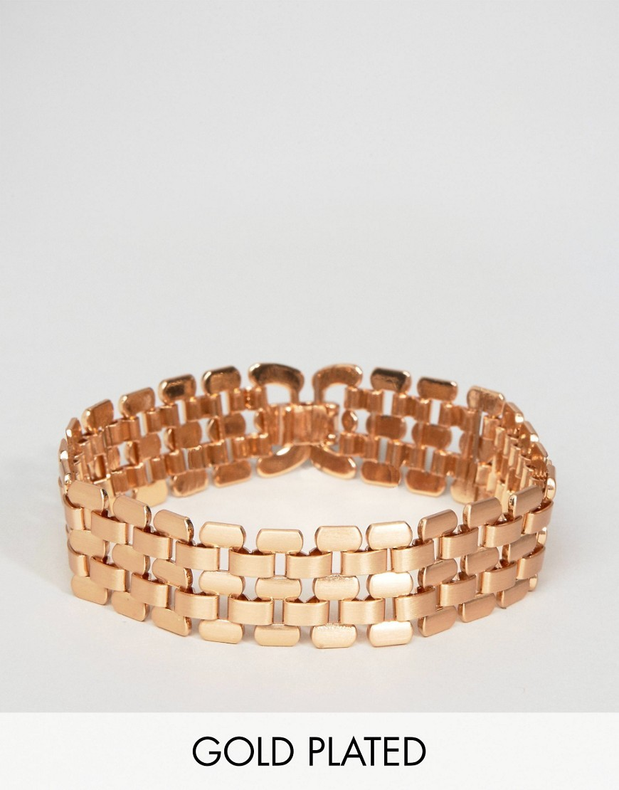 Gold Plated Chunky Bracelet Gold - predominant colour: gold; occasions: evening, occasion, creative work; style: bangle/standard; size: large/oversized; material: chain/metal; finish: metallic; season: a/w 2016; wardrobe: highlight