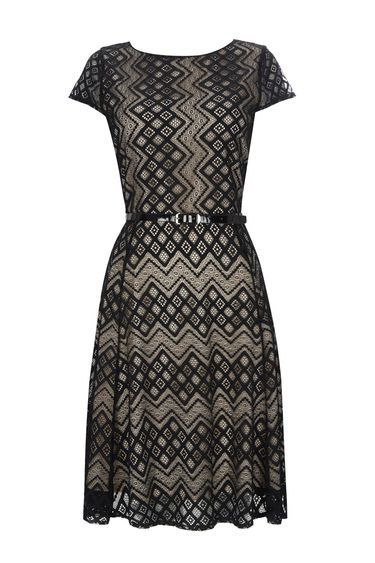 Petite Black Lace Fit & Flare Dress - waist detail: belted waist/tie at waist/drawstring; predominant colour: black; occasions: evening, creative work; length: on the knee; fit: fitted at waist & bust; style: fit & flare; fibres: nylon - mix; neckline: crew; sleeve length: short sleeve; sleeve style: standard; texture group: lace; pattern type: fabric; pattern: patterned/print; season: a/w 2016; wardrobe: highlight