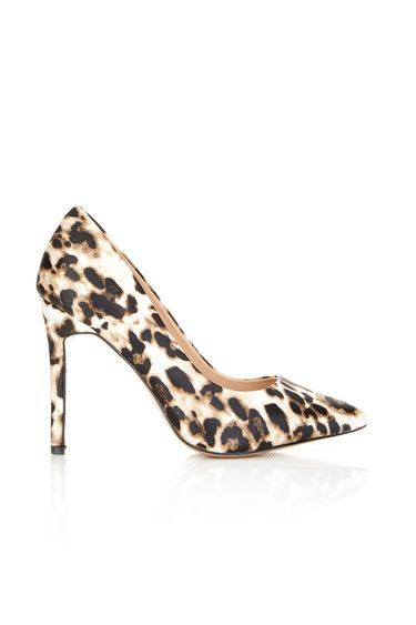 Animal Print High Heel Pointed Court - predominant colour: ivory/cream; secondary colour: chocolate brown; occasions: occasion, creative work; material: fabric; heel height: high; heel: stiletto; toe: pointed toe; style: courts; finish: plain; pattern: animal print; season: a/w 2016; wardrobe: highlight