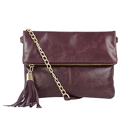 Ora Leather Across Body Handbag - predominant colour: burgundy; occasions: casual, creative work; type of pattern: standard; style: shoulder; length: across body/long; size: small; material: faux leather; embellishment: tassels; pattern: plain; finish: plain; season: s/s 2016