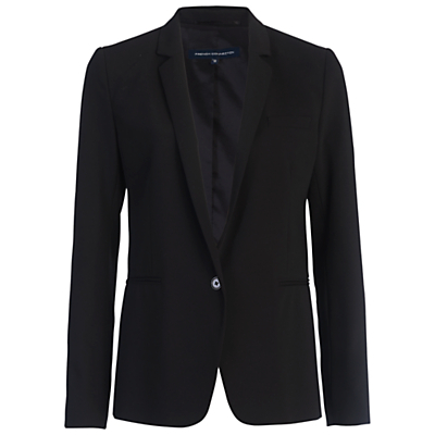 Chelsea Suiting Classic Jacket, Black - pattern: plain; style: single breasted blazer; collar: standard lapel/rever collar; predominant colour: black; occasions: work; length: standard; fit: tailored/fitted; fibres: polyester/polyamide - stretch; sleeve length: long sleeve; sleeve style: standard; collar break: medium; pattern type: fabric; texture group: woven light midweight; wardrobe: investment; season: a/w 2016