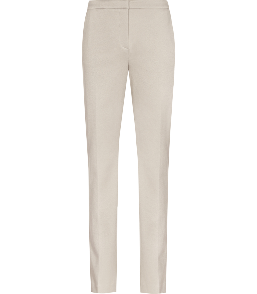 Portman Womens Straight Leg Tailored Trousers In Brown - length: standard; pattern: plain; waist: mid/regular rise; predominant colour: ivory/cream; occasions: work; fibres: cotton - stretch; texture group: cotton feel fabrics; fit: straight leg; pattern type: fabric; style: standard; wardrobe: basic; season: a/w 2016