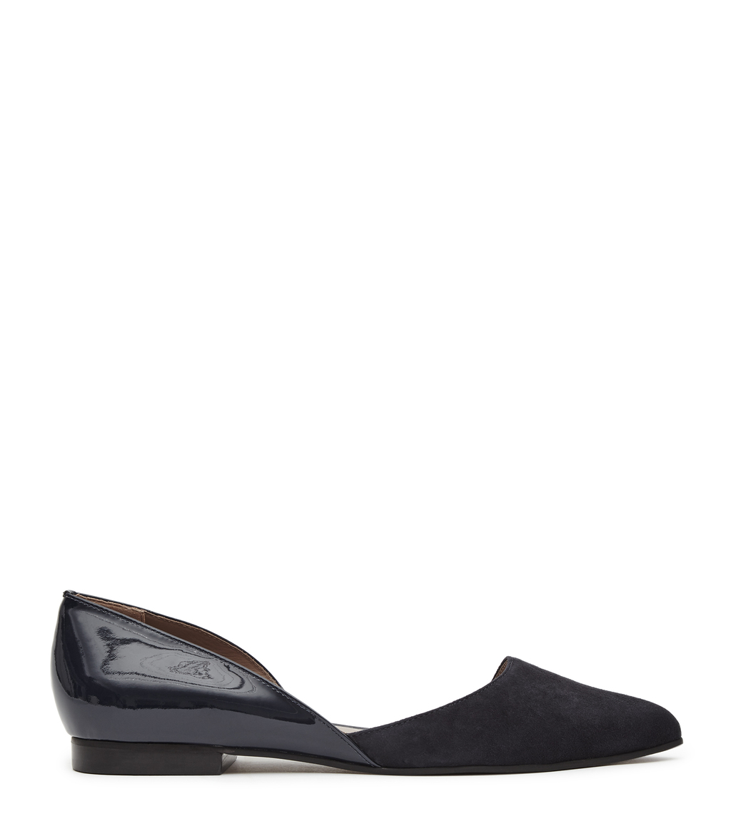 Rosie Womens Cut Away Flat Shoes In Blue - predominant colour: black; occasions: casual; material: leather; heel height: flat; toe: pointed toe; style: ballerinas / pumps; finish: patent; pattern: plain; season: a/w 2016