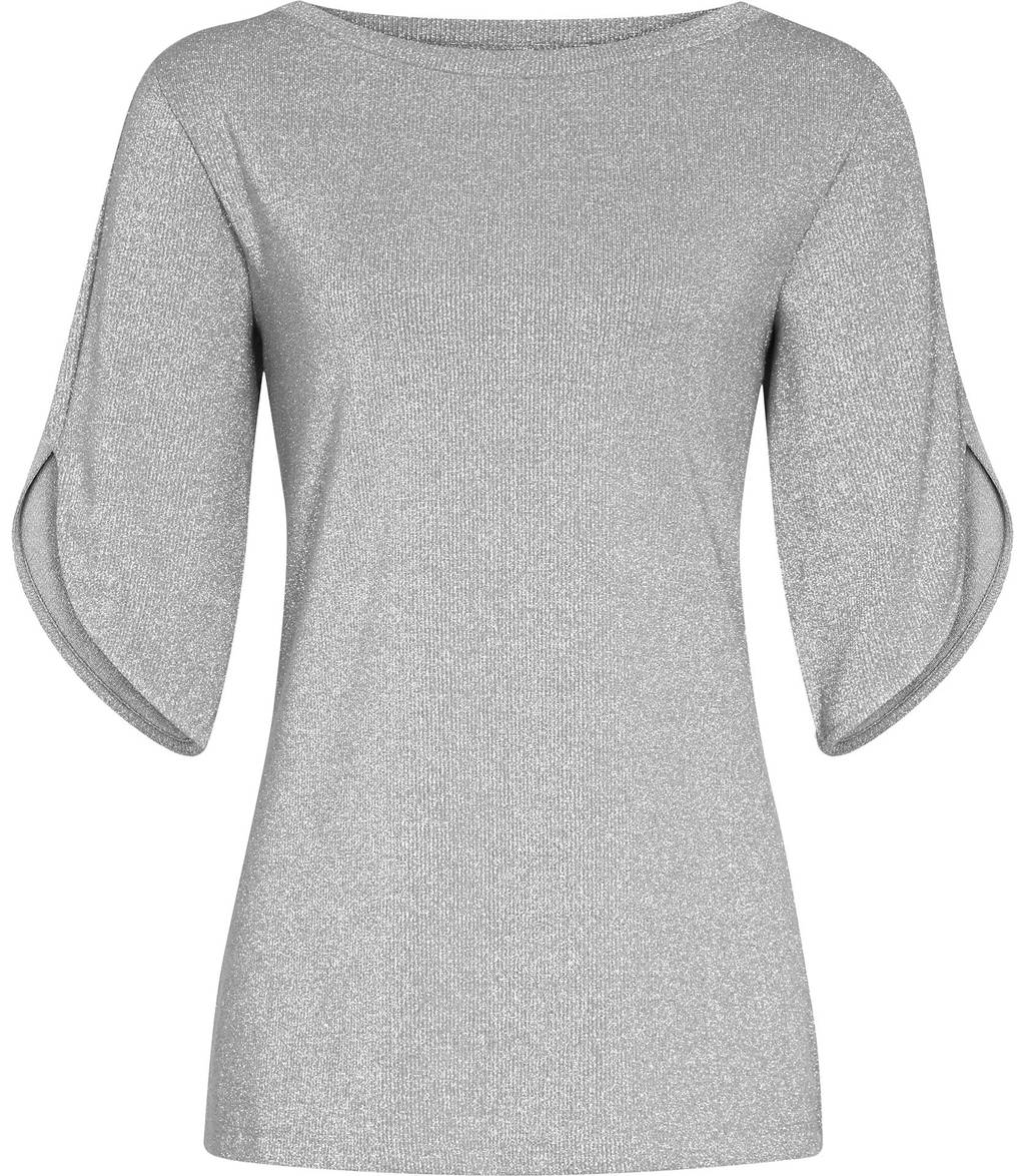 Tallis Womens Metallic Top In Grey - neckline: slash/boat neckline; pattern: plain; predominant colour: light grey; occasions: casual; length: standard; style: top; fibres: viscose/rayon - stretch; fit: body skimming; sleeve length: half sleeve; sleeve style: standard; pattern type: fabric; texture group: jersey - stretchy/drapey; wardrobe: basic; season: a/w 2016