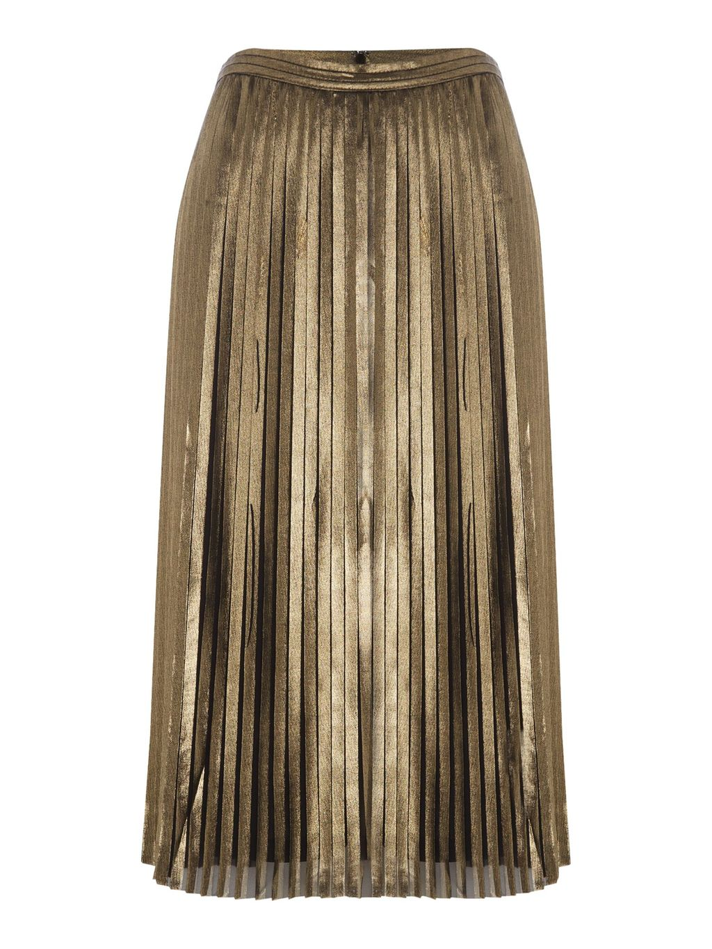 Pleated Metallic Midi Skirt, Black Gold - length: below the knee; pattern: plain; fit: body skimming; style: pleated; waist: mid/regular rise; predominant colour: gold; occasions: evening; fibres: polyester/polyamide - 100%; pattern type: fabric; texture group: woven light midweight; season: a/w 2016