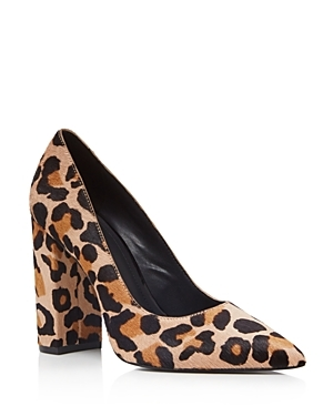Celina Leopard Print Calf Hair Block Heel Pumps - predominant colour: stone; secondary colour: black; occasions: casual, work, creative work; material: animal skin; heel height: high; heel: block; toe: pointed toe; style: courts; finish: plain; pattern: animal print; multicoloured: multicoloured; season: a/w 2016