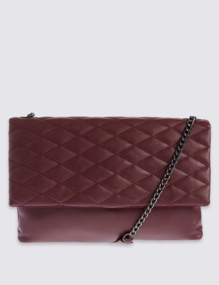 Faux Leather Quilt Shoulder Bag - predominant colour: burgundy; occasions: casual, creative work; type of pattern: standard; style: shoulder; length: across body/long; size: standard; material: faux leather; embellishment: quilted; pattern: plain; finish: plain; season: a/w 2016; wardrobe: highlight