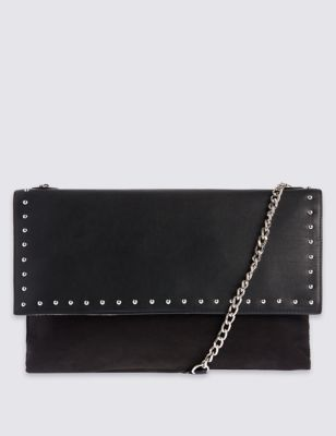 Shoulder Hand Bag - secondary colour: silver; predominant colour: black; occasions: casual, creative work; type of pattern: standard; style: shoulder; length: across body/long; size: standard; material: faux leather; embellishment: studs; pattern: plain; finish: plain; wardrobe: investment; season: a/w 2016