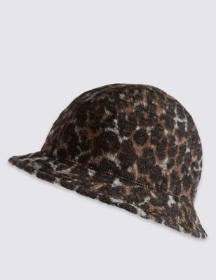 Animal Pull On Hat - secondary colour: tan; predominant colour: black; occasions: casual; type of pattern: standard; style: small brimmed; size: standard; material: fabric; pattern: animal print; season: a/w 2016; wardrobe: highlight