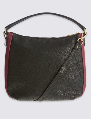 Faux Leather Zip Detail Hobo Bag - predominant colour: black; occasions: casual, work, creative work; type of pattern: standard; length: handle; size: standard; material: leather; pattern: plain; finish: plain; style: hobo; secondary colour: raspberry; wardrobe: investment; season: a/w 2016