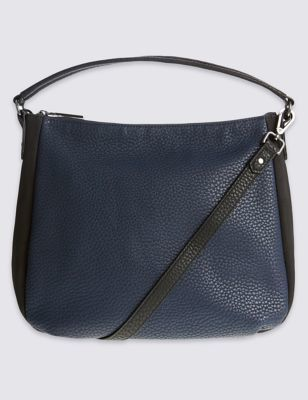 Faux Leather Zip Detail Hobo Bag - predominant colour: navy; secondary colour: black; occasions: casual, work, creative work; type of pattern: standard; length: handle; size: standard; material: leather; finish: plain; pattern: colourblock; style: hobo; season: a/w 2016; wardrobe: highlight