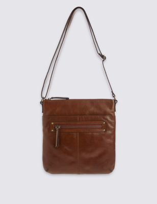 Leather Across Body Bag - predominant colour: tan; occasions: casual, creative work; type of pattern: standard; style: messenger; length: across body/long; size: standard; material: leather; pattern: plain; finish: plain; season: a/w 2016; wardrobe: highlight