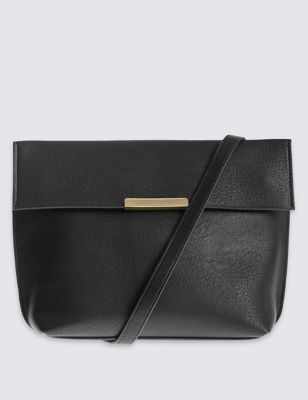 Faux Leather Across Body Bag - predominant colour: black; occasions: casual, creative work; type of pattern: standard; style: messenger; length: across body/long; size: small; material: faux leather; pattern: plain; finish: plain; wardrobe: basic; season: a/w 2016