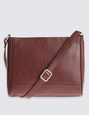 Leather Zip Detail Across Body Bag - predominant colour: chocolate brown; occasions: casual, creative work; type of pattern: standard; style: shoulder; length: across body/long; size: small; material: leather; pattern: plain; finish: plain; season: s/s 2016; wardrobe: investment