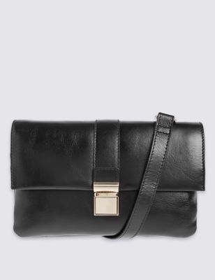Leather Push Lock Across Body Mini Bag - predominant colour: black; occasions: casual, work, creative work; type of pattern: standard; style: shoulder; length: across body/long; size: small; material: leather; pattern: plain; finish: plain; wardrobe: investment; season: a/w 2016
