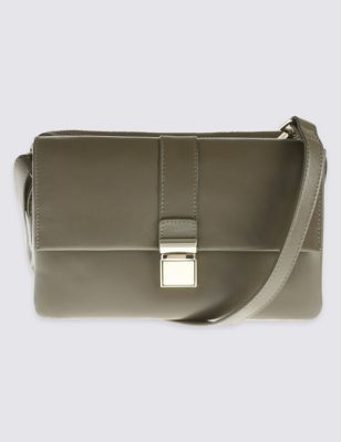 Leather Push Lock Across Body Mini Bag - predominant colour: khaki; occasions: evening; type of pattern: standard; style: shoulder; length: across body/long; size: small; material: leather; pattern: plain; finish: plain; season: a/w 2016; wardrobe: event