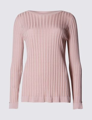 Ribbed Slash Neck Jumper - neckline: slash/boat neckline; pattern: plain; style: standard; predominant colour: blush; occasions: casual, creative work; length: standard; fit: standard fit; sleeve length: long sleeve; sleeve style: standard; texture group: knits/crochet; pattern type: knitted - other; fibres: viscose/rayon - mix; wardrobe: basic; season: a/w 2016