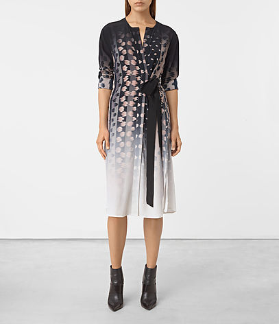 Caso Polka Silk Dress - style: shift; length: below the knee; neckline: v-neck; waist detail: belted waist/tie at waist/drawstring; secondary colour: white; predominant colour: black; occasions: evening; fit: body skimming; fibres: silk - 100%; sleeve length: half sleeve; sleeve style: standard; texture group: structured shiny - satin/tafetta/silk etc.; pattern type: fabric; pattern: patterned/print; multicoloured: multicoloured; season: a/w 2016