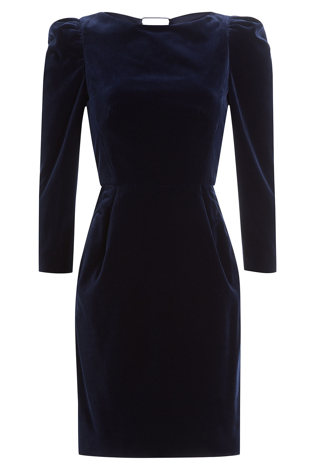 Velvet Dress Blue - style: shift; length: mini; pattern: plain; predominant colour: navy; occasions: evening; fit: body skimming; fibres: cotton - 100%; neckline: crew; sleeve length: long sleeve; sleeve style: standard; pattern type: fabric; texture group: velvet/fabrics with pile; season: a/w 2016; wardrobe: event