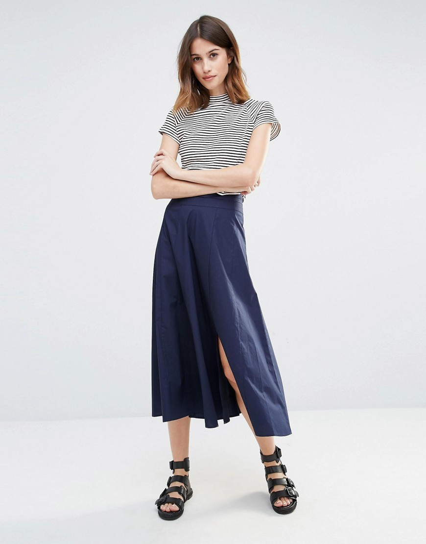 Full Midi Skirt Navy - length: calf length; pattern: plain; fit: body skimming; waist: mid/regular rise; predominant colour: navy; occasions: casual; style: fit & flare; fibres: cotton - 100%; hip detail: slits at hip; pattern type: fabric; texture group: woven light midweight; wardrobe: basic; season: a/w 2016