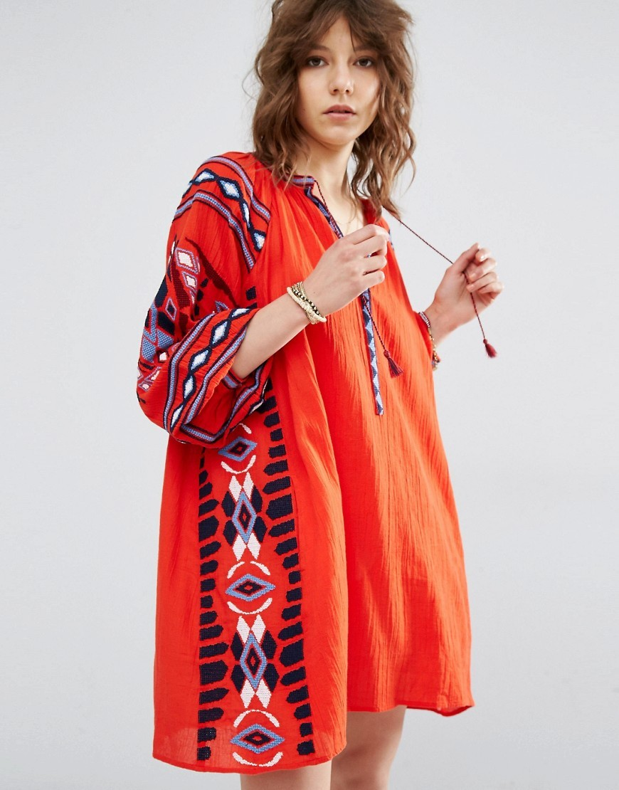 Boho Dress With Cool Embroideries Red - style: smock; length: mid thigh; fit: loose; predominant colour: bright orange; secondary colour: black; occasions: casual; neckline: collarstand & mandarin with v-neck; fibres: cotton - 100%; sleeve length: 3/4 length; sleeve style: standard; texture group: cotton feel fabrics; pattern type: fabric; pattern size: big & busy; pattern: patterned/print; multicoloured: multicoloured; season: a/w 2016