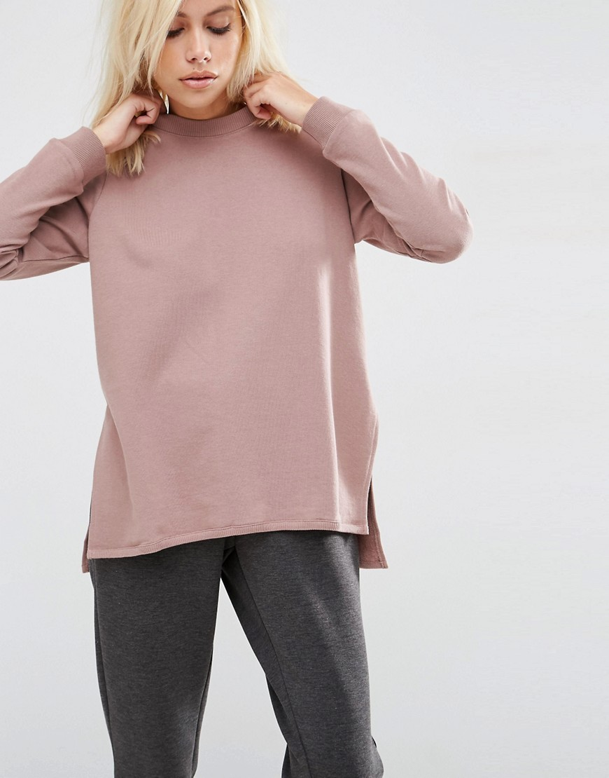 Side Split Sweatshirt Mauve - pattern: plain; neckline: high neck; length: below the bottom; style: sweat top; predominant colour: blush; occasions: casual; fibres: cotton - 100%; fit: body skimming; sleeve length: long sleeve; sleeve style: standard; pattern type: fabric; texture group: jersey - stretchy/drapey; wardrobe: basic; season: a/w 2016