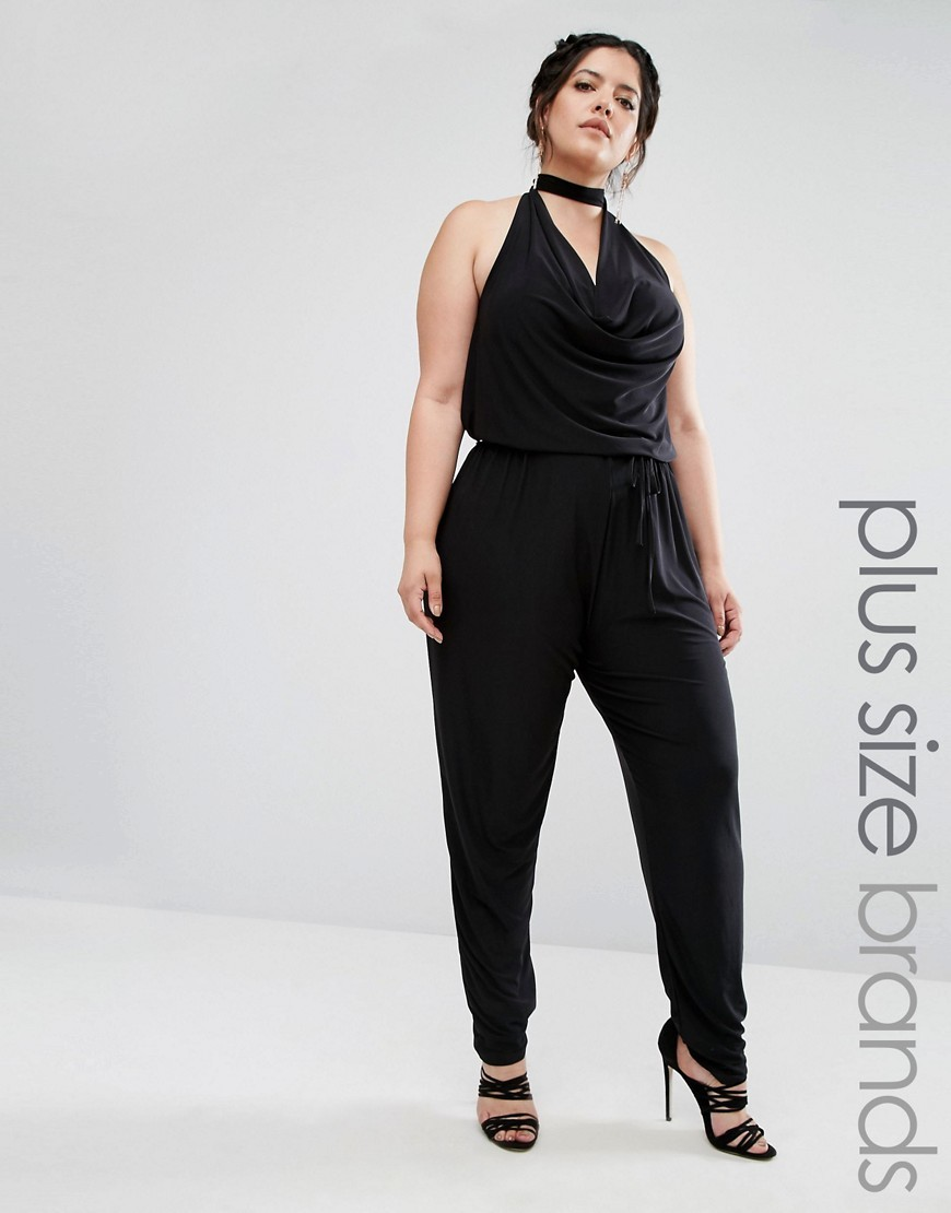 Plus Jumpsuit With Choker Neck Black - length: standard; neckline: cowl/draped neck; pattern: plain; sleeve style: sleeveless; predominant colour: black; occasions: evening; fit: body skimming; fibres: polyester/polyamide - stretch; sleeve length: sleeveless; style: jumpsuit; pattern type: fabric; texture group: jersey - stretchy/drapey; season: a/w 2016; wardrobe: event