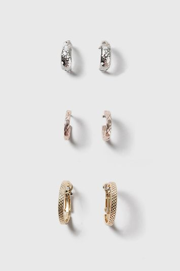Textured Hoop Earrings Pack - predominant colour: gold; occasions: casual, creative work; style: hoop; length: short; size: small/fine; material: chain/metal; fastening: pierced; finish: metallic; wardrobe: basic; season: a/w 2016