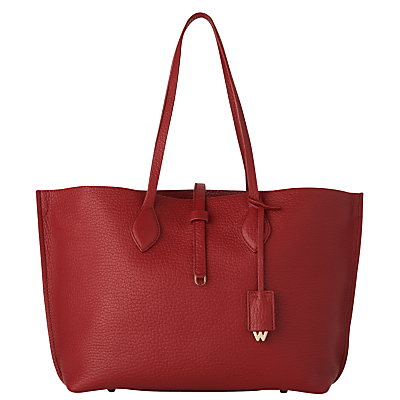 Regent Soft Leather Tote Bag - predominant colour: true red; occasions: casual, creative work; type of pattern: standard; style: tote; length: handle; size: oversized; material: leather; pattern: plain; finish: plain; season: s/s 2016; wardrobe: highlight