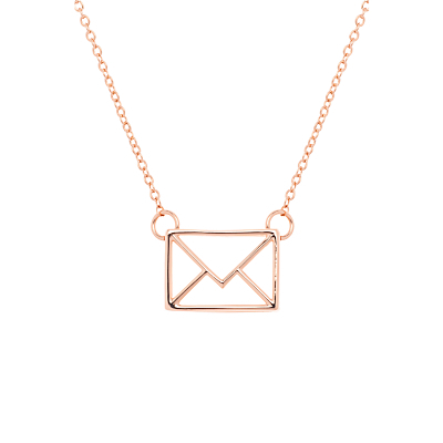 Irinna Love Letter Pendant Necklace - predominant colour: gold; occasions: casual, creative work; style: pendant; length: mid; size: standard; material: chain/metal; finish: metallic; wardrobe: basic; season: a/w 2016