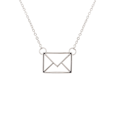 Irinna Love Letter Pendant Necklace - predominant colour: silver; occasions: evening, creative work; style: pendant; length: mid; size: standard; material: chain/metal; finish: metallic; wardrobe: basic; season: a/w 2016