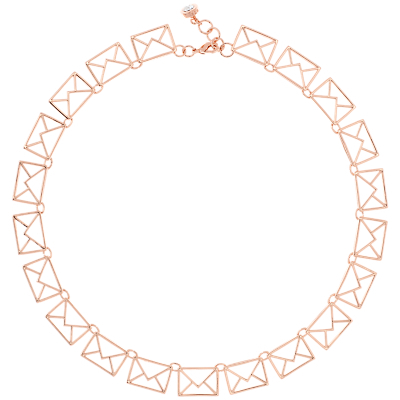 Idiana Love Letter Collar Necklace, Rose Gold - predominant colour: gold; occasions: evening, occasion, creative work; style: choker/collar/torque; length: choker; size: large/oversized; material: chain/metal; finish: metallic; season: a/w 2016; wardrobe: highlight