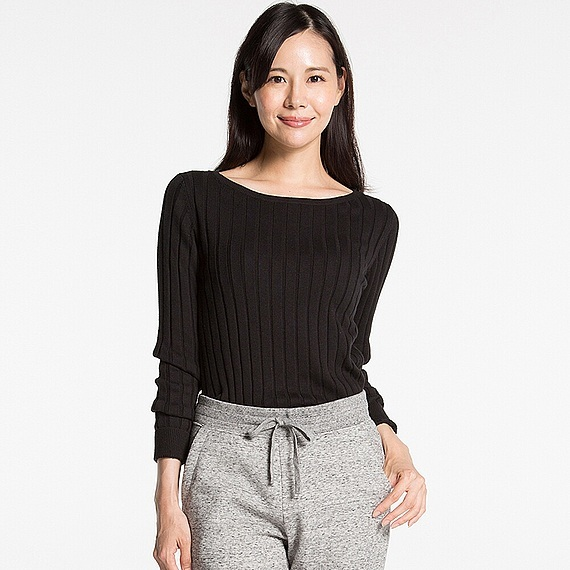 Women Cotton Cashmere Wide Ribbed Sweater (5 Colours) Black - neckline: slash/boat neckline; pattern: plain; style: standard; predominant colour: black; occasions: casual, work, creative work; length: standard; fibres: cotton - mix; fit: standard fit; sleeve length: long sleeve; sleeve style: standard; texture group: knits/crochet; pattern type: knitted - fine stitch; wardrobe: basic; season: a/w 2016