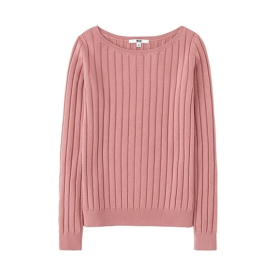 Women Cotton Cashmere Wide Ribbed Sweater (5 Colours) Pink - neckline: scoop neck; pattern: plain; style: standard; predominant colour: blush; occasions: casual, work, creative work; length: standard; fit: standard fit; fibres: cashmere - 100%; sleeve length: long sleeve; sleeve style: standard; texture group: knits/crochet; pattern type: knitted - fine stitch; wardrobe: investment; season: a/w 2016