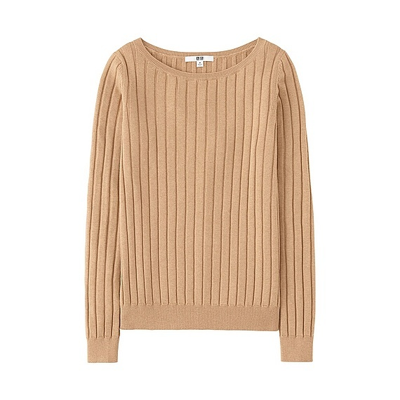 Women Cotton Cashmere Wide Ribbed Sweater (5 Colours) Beige - neckline: scoop neck; pattern: plain; style: standard; predominant colour: camel; occasions: casual, work, creative work; length: standard; fibres: cotton - mix; fit: standard fit; sleeve length: long sleeve; sleeve style: standard; texture group: knits/crochet; pattern type: knitted - fine stitch; wardrobe: basic; season: a/w 2016