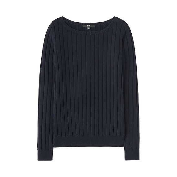 Women Cotton Cashmere Wide Ribbed Sweater (5 Colours) Navy - neckline: round neck; pattern: plain; style: standard; predominant colour: navy; occasions: casual, work, creative work; length: standard; fibres: cotton - mix; fit: standard fit; sleeve length: long sleeve; sleeve style: standard; texture group: knits/crochet; pattern type: knitted - fine stitch; wardrobe: basic; season: a/w 2016